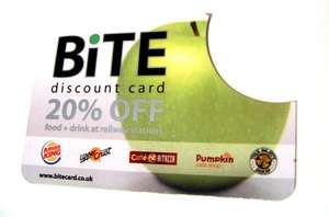 20% of Burger King, Upper Crust, Millies Cookies and BARS at Railway Stations Across the UK with Bite card