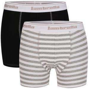 LAMBRETTA MEN'S TWO PACK BOXERS - BLACK/GREY for £4.99 or £4.49 with 10% code HUTMPC ( Potential TCB  6.06%) @ The Hut