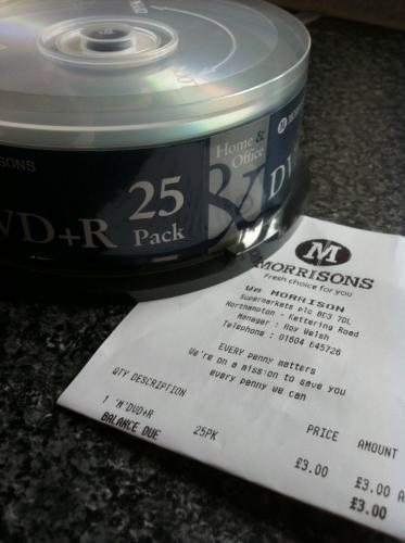DVD+R 25 spindle pack. £3 Morrisons (instore)