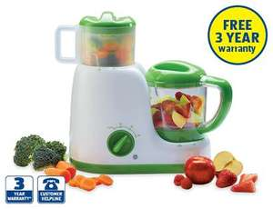 Baby food maker 3in1 from Aldi, comes with 3 year warranty- £39.99