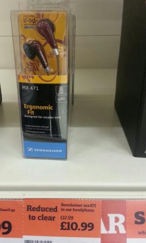 Sennheiser mx471 in ear headphone Was £17.59 Now 10.99 - Sainsbury's