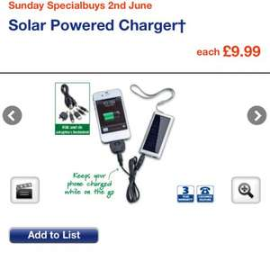 Solar mobile phone charger £9.99 Aldi from Sunday