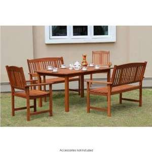 Jakarta 5 piece patio set in wood - £149.99 - B & M