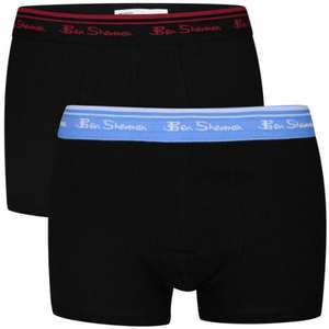BEN SHERMAN MEN'S 2-PACK ROMFORD BOXER SHORTS - BLACK/BLACK £4.99 @ THE HUT