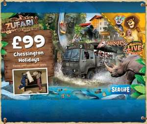 2 days entry into Chessington, kids go free, 1 nights hotel stay for family of 4, free entry into SeaLife Centre & Zoo all from £99 in June