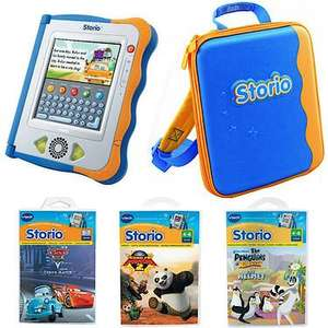 Vtech Storio blue interactive e-reading value pack with carry case and 3 cartridges RRP £123.99 Now £33.24 (using code) at the toyshop.com - entertainer