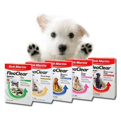 Ebay - BOB MARTIN FLEACLEAR SPOT ON FOR DOGS & CATS CLEARS KILL TICKS & FLEAS 8 24 WEEK £2.99!!