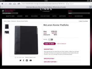 Links of London sale McLaren Kevlar Padfolio reduced from £195 to £20 with free express delivery  with code  'dadfree'