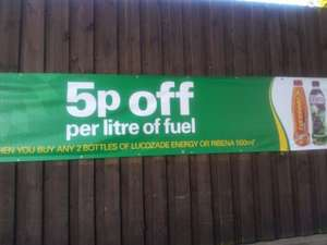 BP 5p off per litre fuel when you buy any 2 bottles of lucozade or ribena