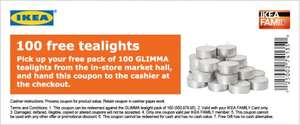 Free Pack of 100 Glimma Tea Light Candles from Ikea (Ikea Family Members Only)
