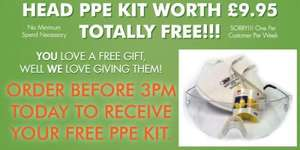 Free Head PPE Head Kit worth £9.95 with any order placed before 3pm @ Thesafetysupplycompany