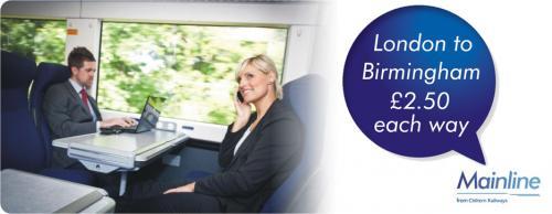train London/ Birmingham/ London £2.50 July @ Chiltern Rail still available..