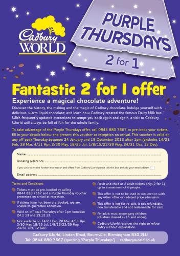 2 for 1 admission at Cadbury World on Thursdays!