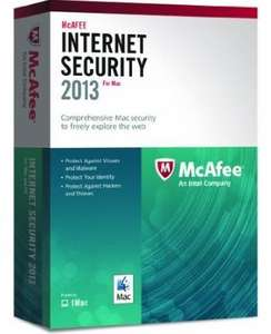 McAfee Internet Security for Mac 2013 - 1 Computer, 12 month Subscription (Mac) £5.99 @ Amazon