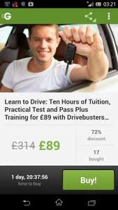 10 hours of lessons including 1st driving test £89 south yorkshire areas @ Groupon