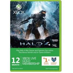 12+1 month Xbox Live Gold Membership ONLY £27.54 with code @ cdkeys.com (Halo 4 Branded includes free Emblem)