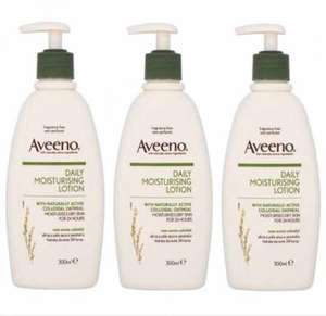 3 X Aveeno 300ml daily moisturiser pump dispenser(Great for eczema) £8.99 delivered @ eBay(pink & blue gifts)