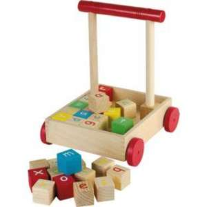 Chad Valley Wooden Push-along Baby Trolley & 28 Wooden Blocks now £9.99 @ Argos
