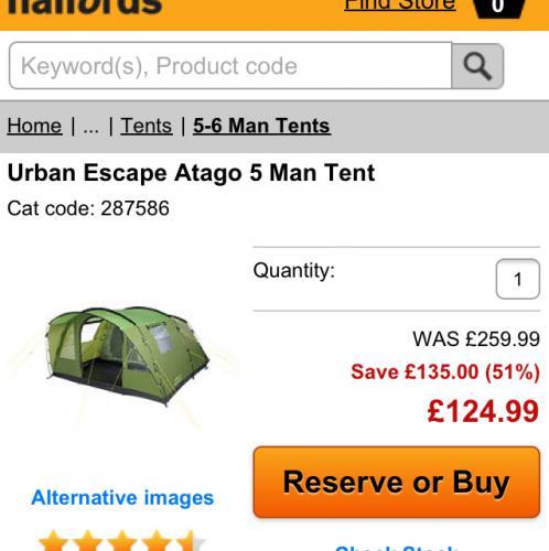 Urban escape atago 5 man tent £124.99 @ Halfords