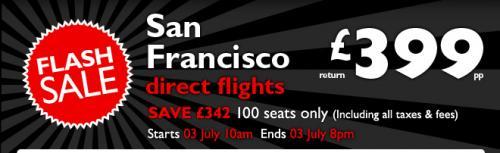 FLIGHTCENTRE FLASH SALE: RETURN DIRECT FLIGHTS TO SAN FRANCISCO (Starts 3rd July 10am)