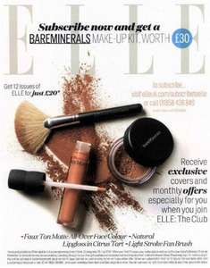 Subscribe to ELLE Magazine for £20 and get free bareMinerals gift worth £30
