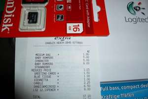 Sandisk 16GB Micro SD Card + Adapter only £6.50 instore at Tesco.