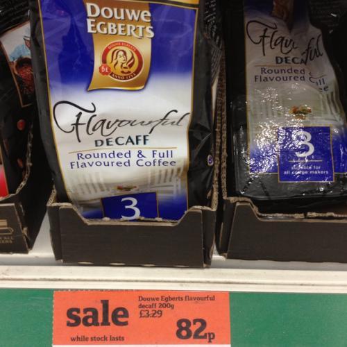 Douwe Egberts 200g decaff ground coffee rtc 82p @ Sainsburys