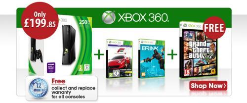 Xbox 360 S Console250GB+ GTA V + Brink + Forza 4 Essentials £199.85 @ Shopto RRP £269.80