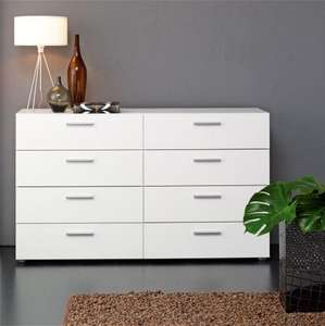 White Dresser - MFC Build - 8 Drawers - Metal Effect Handles - Modern Sideboard £69.99 @ Ebay/ worldstores