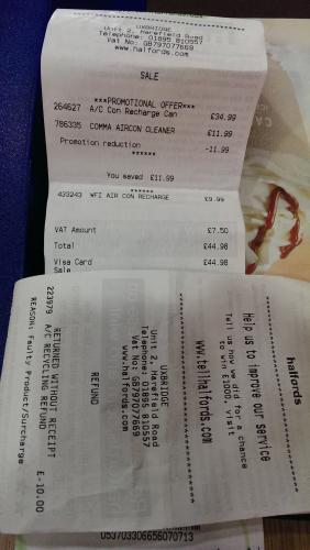 Air Con recharge £35 @ Halfords