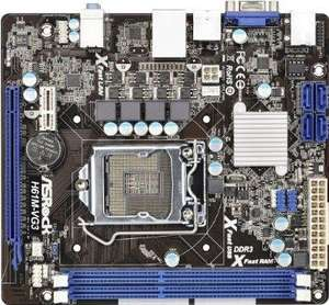 ASRock H61M-VG3 Motherboard (Socket 1155, Intel H61, DDR3, S-ATA 300, Micro ATX, PCI Express 3.0, 5.1 CH HD Audio, Extreme Tuning Utility) £32.58  @ AMAZON