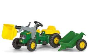 John Deere Kid Childrens Ride On Pedal Toy Tractor with Loader and Detachable Trailer - Amazon £64 Delivered