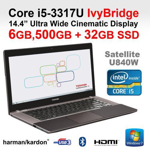"Toshiba U840W-107 ""cinematic"" 14.4"" ultrawide screen Intel core i5 3317U Ultrabook £479.99 @ ebay Laptop Outlet Ltd"