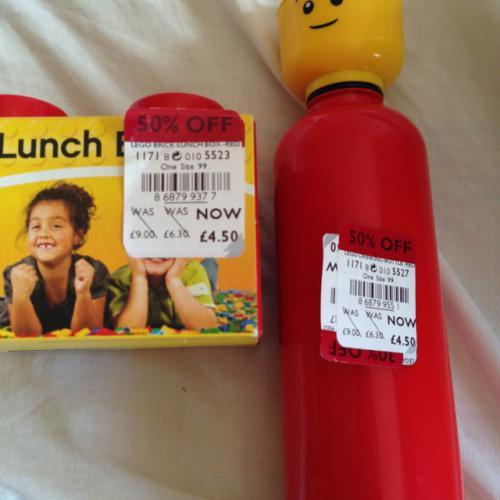 Lego lunch box & drinking bottle £4.50 at Debenhams