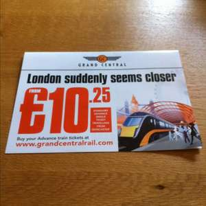 Grand central trains from West Yorkshire to London low cost advance tickets £10.25-£12.25