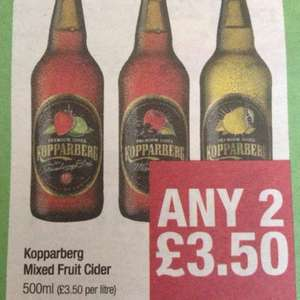 Kopparberg Cider any 2 for £3.50 @ Co-op