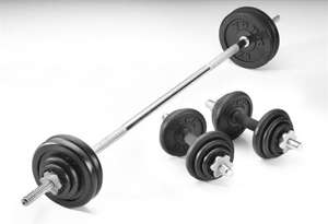 York Fitness 50kg cast iron Barbell & Dumbell set only £66 @ Tesco