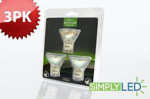 """""""Simplyled"""" GU10 LED Bulbs 3 pack, high power 5 year warranty - reduced from £32.99 to £14.99. Also12% quidco thats £13.20)"""