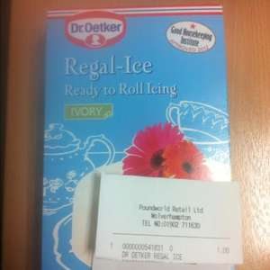 Dr Oetker Regal-Ice ready to roll icing, ivory £1 @ Poundworld