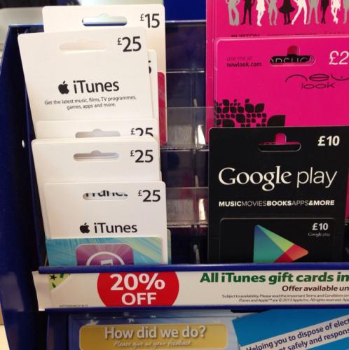 iTunes voucher 20% off at tesco