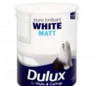 Dulux 5l Matt or Vinyl Pure Brilliant White Paint £10 @ Asda