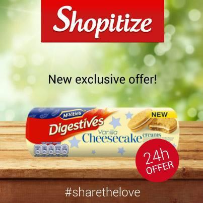 Vanilla Cheesecake Digestives only 9p using Shopitize at ASDA