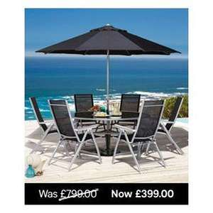Seattle Garden Table with 6 Multi Position Reclining Chairs and parasol only £249 @ Homebase