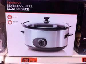 Sainsbury's 6.2l Stainless Steel Slow Cooker £15.99 (60% off)