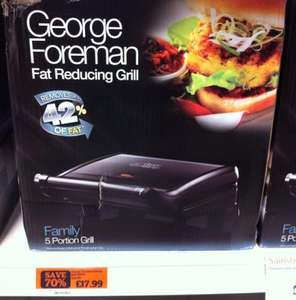 George Foreman 5 portion family grill, £17.99 (70% off), Sainsburys instore & online