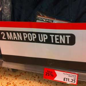 2 man pop up tent instore £11.25 @ Morrisons
