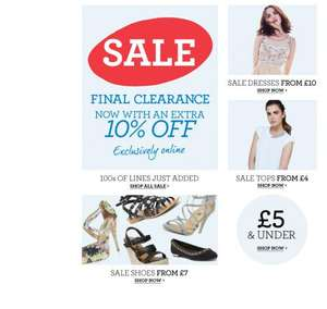 Dorothy Perkins final sale + 10% off at checkout auto applied & £1 delivery via code