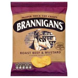 Brannigans Roast beef & mustard and  Smoked ham & pickle flavour potato crisps 3 for £1 @poundland