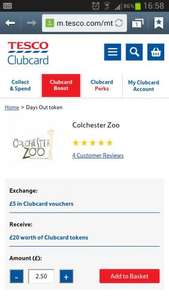 Colchester Zoo Clubcard Boost £5 Adult Entry @ Tesco