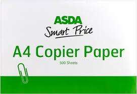 ASDA Smart price A4 Copier Paper only £ 1.50 for 500 sheets